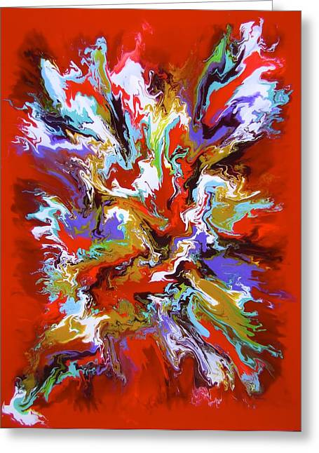 Acrylic Pour Greeting Cards - Fire Dance Greeting Card by Richard Jensen