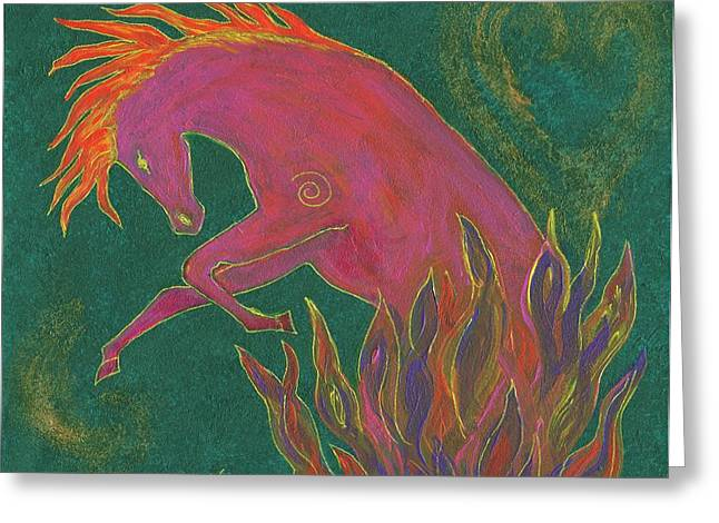 Courage Paintings Greeting Cards - Fire Dancer Greeting Card by Carey Waters