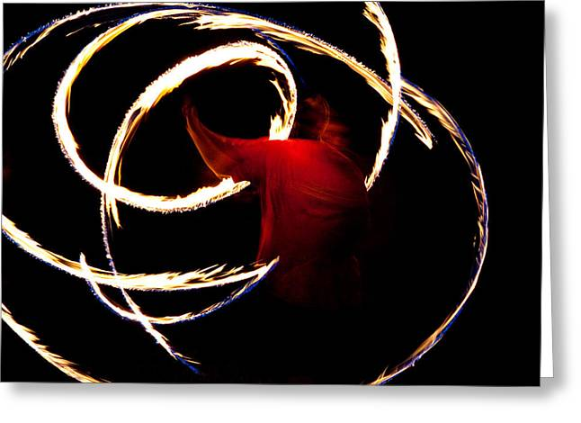 Hip Belt Greeting Cards - Fire Dancer Greeting Card by Sennie Pierson