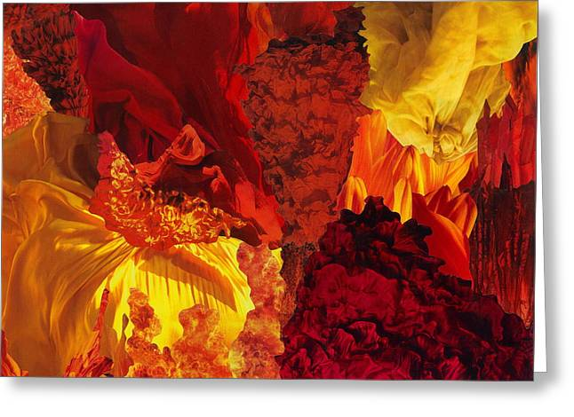 Vivid Colour Mixed Media Greeting Cards - Fire Greeting Card by Denise Mazzocco