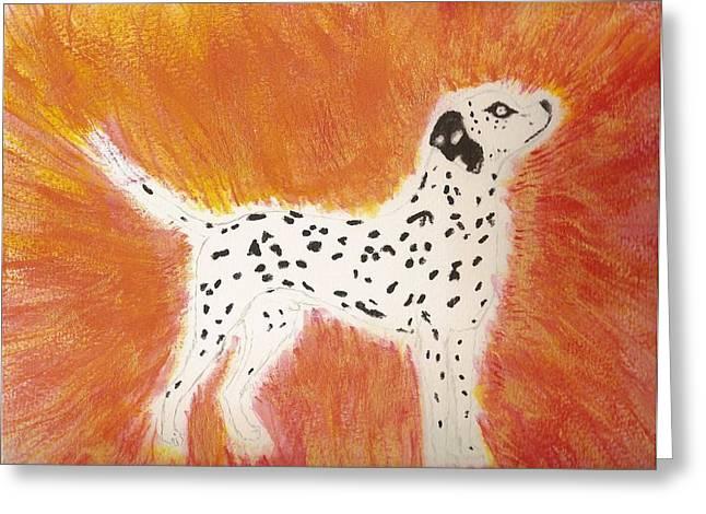 Transformative Art Greeting Cards - Fire Dog Greeting Card by Elisheva Herrera