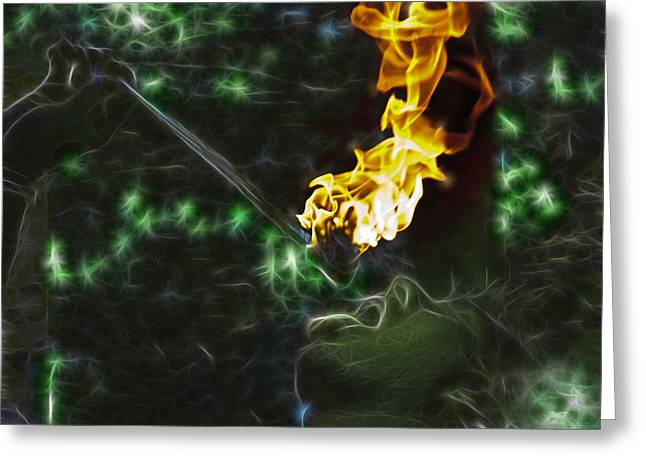 Buccaneer Greeting Cards - Fire Eater D5333 Greeting Card by Wes and Dotty Weber