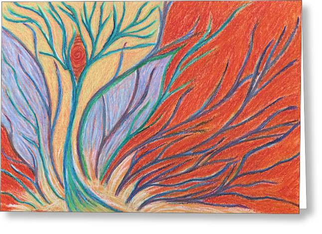 Transformations Pastels Greeting Cards - Fire Emerging from Behind the Scene Greeting Card by Jamie Rogers