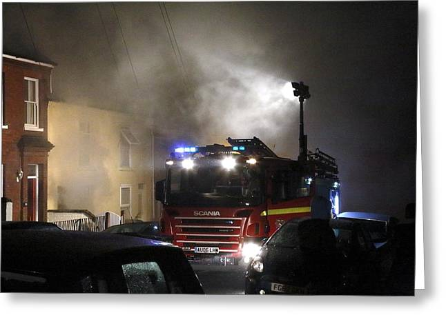 Night Lamp Greeting Cards - Fire engine attending a house fire Greeting Card by Science Photo Library