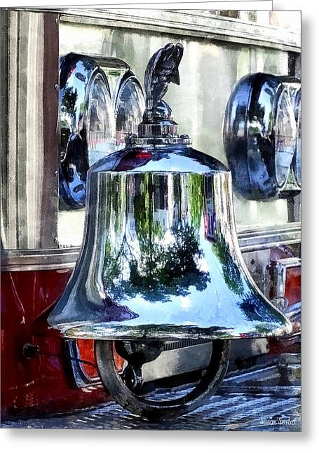 Bell Greeting Cards - Fire Engine Bell Closeup Greeting Card by Susan Savad