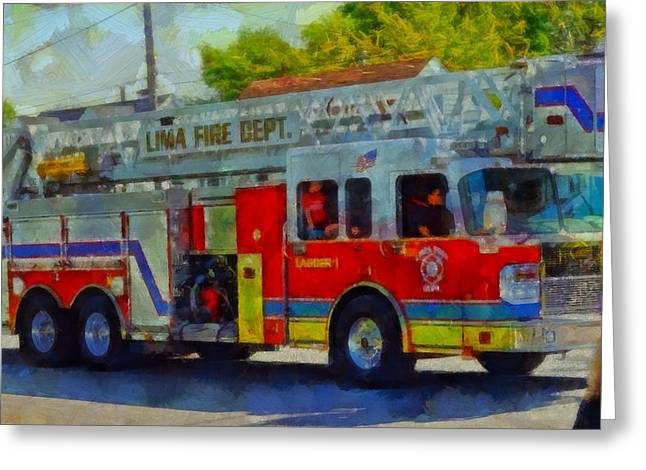 Memorial Day Mixed Media Greeting Cards - Fire Engine In Parade Greeting Card by Dan Sproul