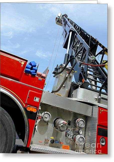 Sky Fire Greeting Cards - Fire Engine Greeting Card by Olivier Le Queinec
