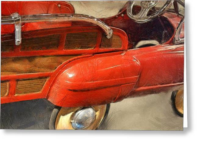 Hubcap Greeting Cards - Fire Engine Pedal Car Greeting Card by Michelle Calkins