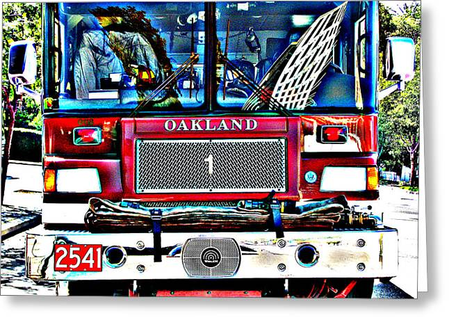 Fire Engine Study 1 Greeting Card by Samuel Sheats