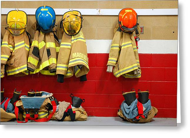 Civil Service Work Greeting Cards - Fire Equipment at Rest Greeting Card by James Kirkikis