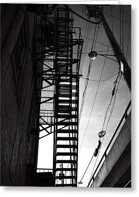 Industrial Greeting Cards - Fire Escape and Wires Greeting Card by Bob Orsillo