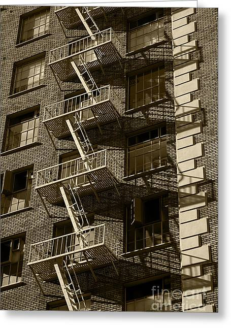 Step Ladder Greeting Cards - Fire Escape castinga Shadow on the Facade of a Building Architec Greeting Card by ELITE IMAGE photography By Chad McDermott