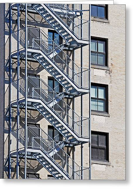 Norman Pogson Greeting Cards - Fire Escape Stairs Greeting Card by Norman Pogson