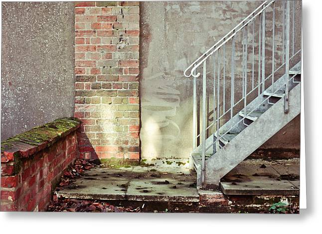 Fire Escapes Greeting Cards - Fire escape stairs Greeting Card by Tom Gowanlock