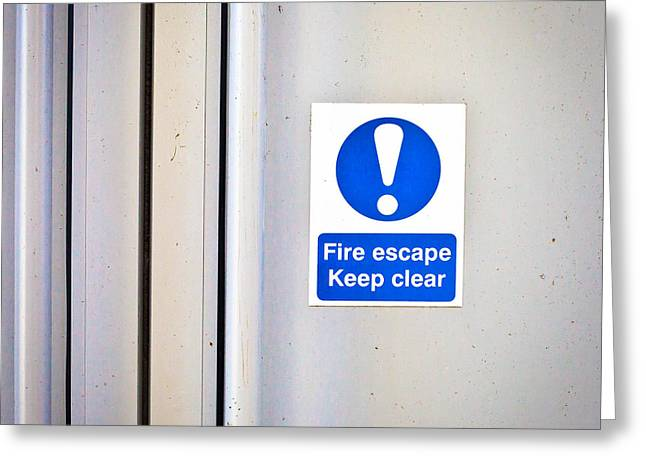 Legislation Greeting Cards - Fire exit Greeting Card by Tom Gowanlock