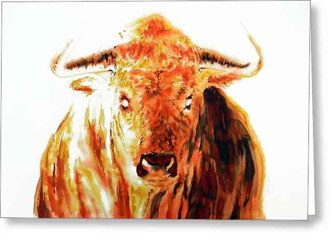 Unique Art Drawings Greeting Cards - Element Fire Fight Bull Greeting Card by Jose Espinoza