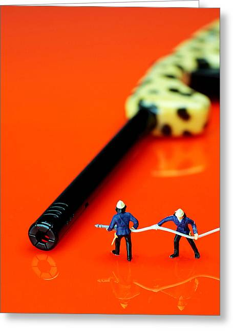 Creative People Greeting Cards - Fire fighters and fire gun little people big worlds Greeting Card by Paul Ge