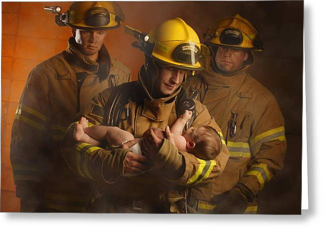 35-39 Years Greeting Cards - Fire Fighters Rescuing A Baby Greeting Card by Don Hammond