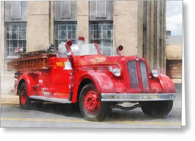 Fire Fighters - Vintage Fire Truck Greeting Card by Susan Savad