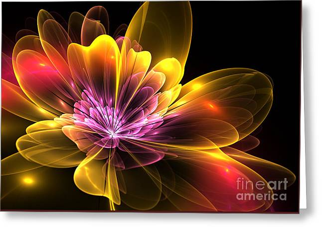 Fire Flower Greeting Card by Svetlana Nikolova