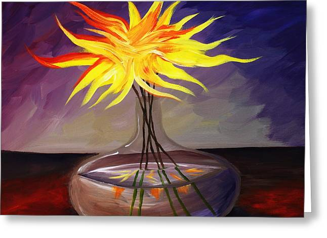Glass Vase Greeting Cards - Fire Flowers Greeting Card by Angel Reyes