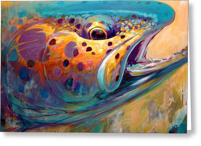 Fly Paintings Greeting Cards - Fire From Water - Rainbow Trout Contemporary Art Greeting Card by Mike Savlen