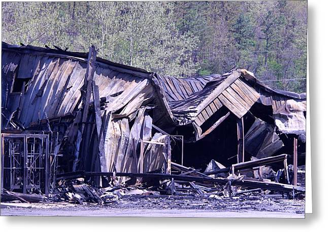 Metal Sheet Greeting Cards - Fire Guts Building Greeting Card by Dick Willis