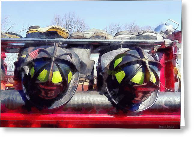 Fireman Boots Greeting Cards - Fire Helmet and Boots Greeting Card by Susan Savad