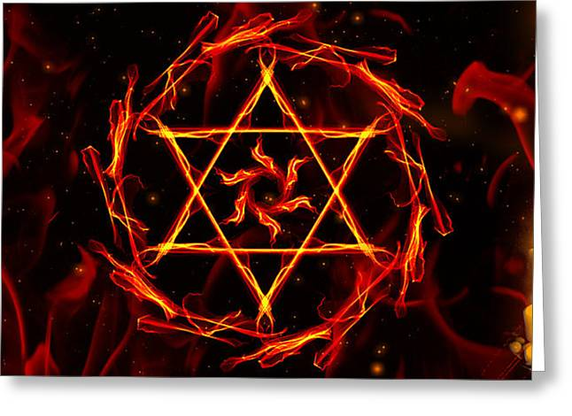 Babylon Digital Greeting Cards - Fire Hexagram Greeting Card by Persephone Artworks