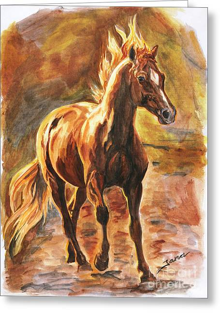 Quarter Horse Greeting Cards - Fire horse Greeting Card by Jana Goode