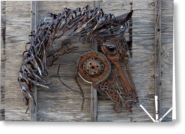 Weld Sculptures Greeting Cards - Fire Horse Greeting Card by Peggi Bell