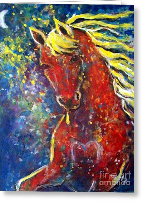Expressionist Equine Greeting Cards - Fire Horse Greeting Card by Relly Peckett
