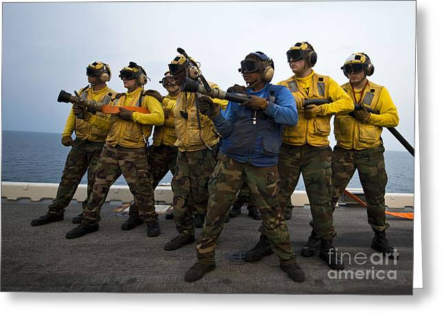 Gulf Team Greeting Cards - Fire Hose Teams Stand By In Case Greeting Card by Stocktrek Images