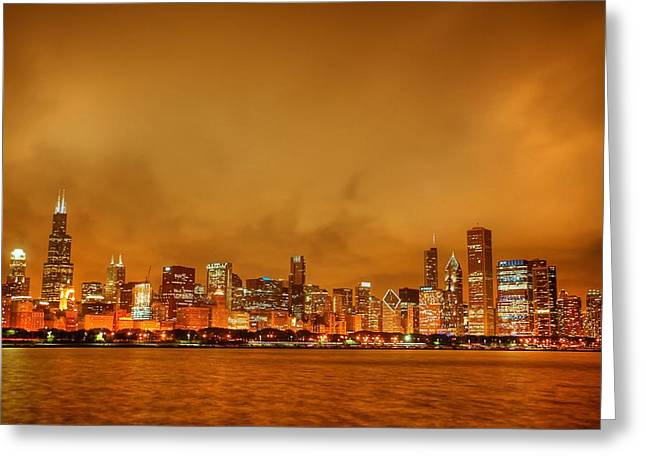 Night Scenes Greeting Cards - Fire in a Chicago Night Sky Greeting Card by Ken Smith
