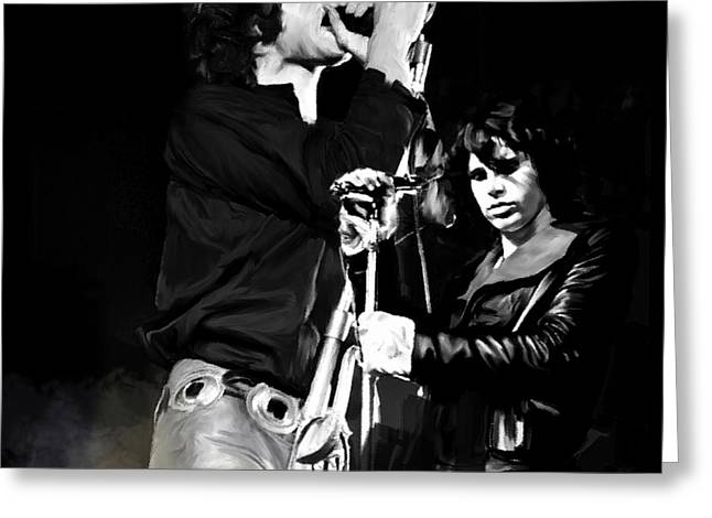 Fire In A Storm  Jim Morrison Greeting Card by Iconic Images Art Gallery David Pucciarelli
