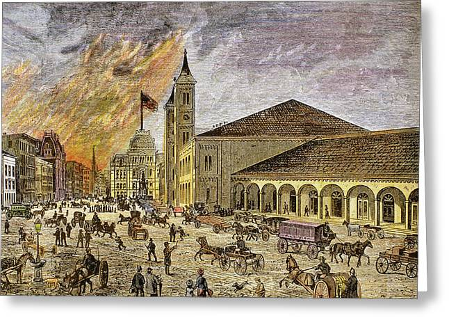 Fire In The City Of Providence In 1886 Greeting Card by Prisma Archivo