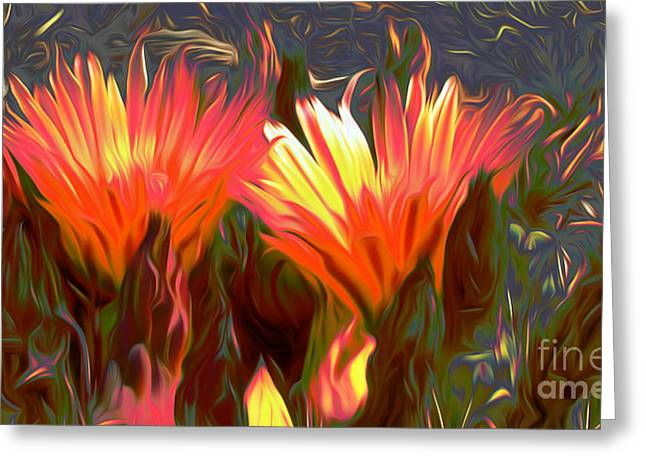 Landscape Framed Prints Greeting Cards - FIRE in The Desert Greeting Card by Beverly Guilliams