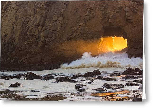 Pfeiffer Beach Greeting Cards - Fire In The Hole Greeting Card by Suzanne Luft
