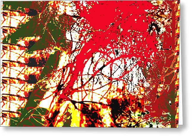 Temperature Greeting Cards - Fire in the jungle abstract using nature photography unique signature art by NavinJOSHI Fire represe Greeting Card by Navin Joshi
