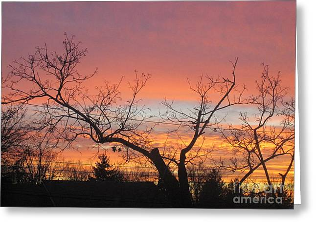 Layers Greeting Cards - Fire in the Sky 1 Greeting Card by Tara  Shalton