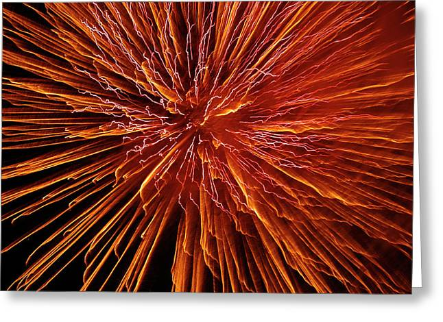 4th July Greeting Cards - Fire In The Sky Greeting Card by Carolyn Marshall