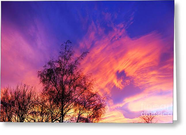 David Birchall Greeting Cards - Fire In The Sky Greeting Card by David Birchall