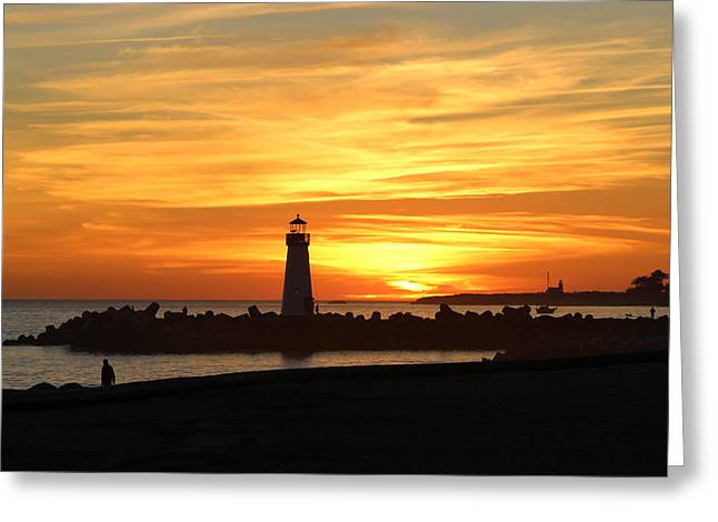 Steamer Lane Greeting Cards - Fire in the Sky Greeting Card by Deana Glenz