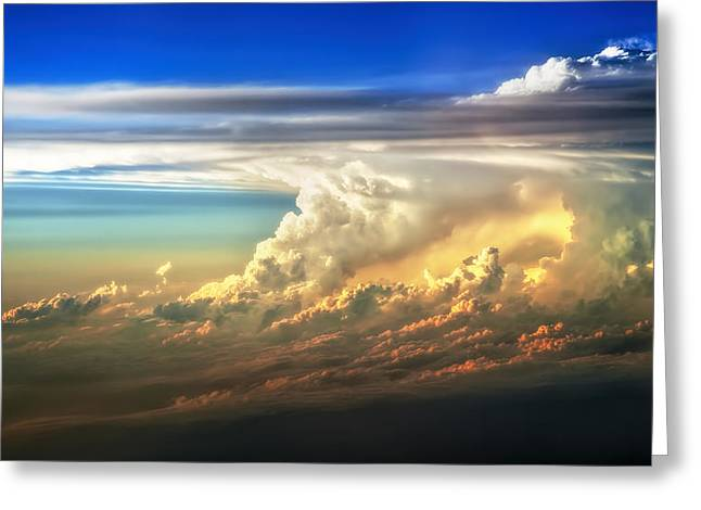 Severe Greeting Cards - Fire in the Sky from 35000 Feet Greeting Card by Scott Norris