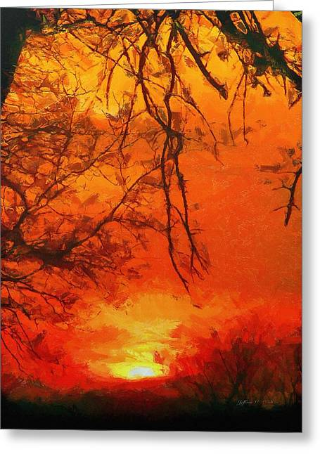Clouds Greeting Cards - Fire in the Sky Greeting Card by Jeff Kolker