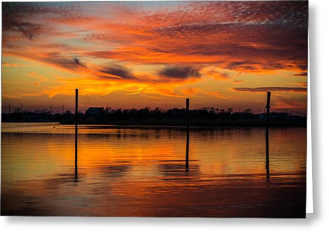 Fire In The Sky Greeting Card by Kristopher Schoenleber