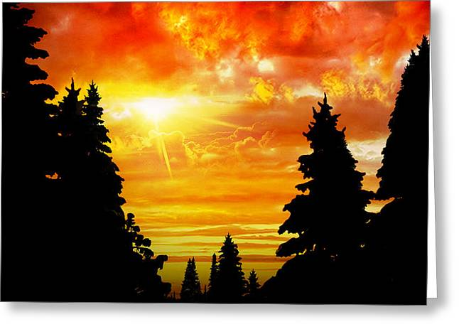 Vinter Greeting Cards - Fire in the Sky Greeting Card by Lj Lambert