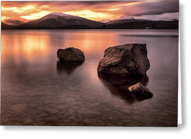 Scotland Landscapes Greeting Cards - Fire in the sky Loch Lomond Greeting Card by John Farnan