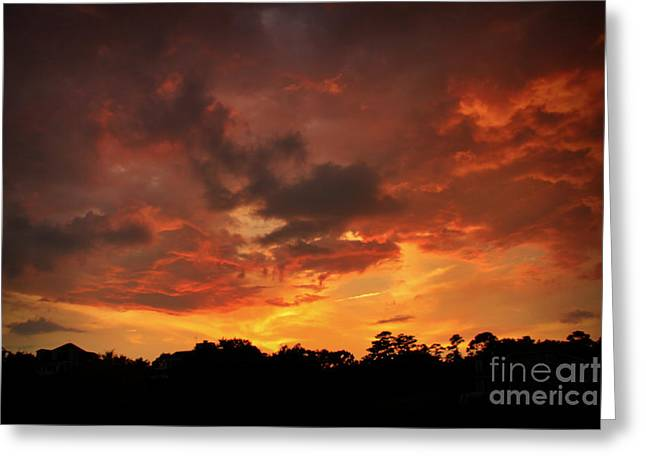 Storm Prints Digital Art Greeting Cards - Fire In The Sky Greeting Card by Phil Mancuso