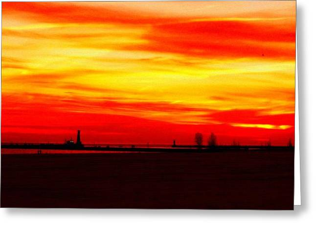 Fire In The Sky Greeting Card by Rosemarie E Seppala